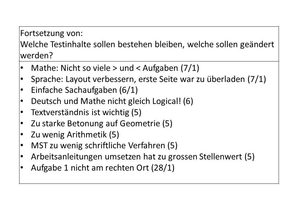 Fortsetzung von: Welche Testinhalte sollen bestehen bleiben, welche sollen geändert werden Mathe: Nicht so viele > und < Aufgaben (7/1)