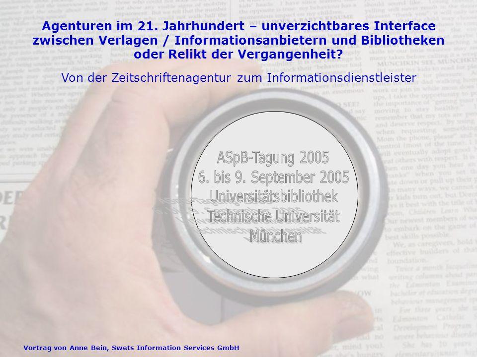 Vortrag von Anne Bein, Swets Information Services GmbH