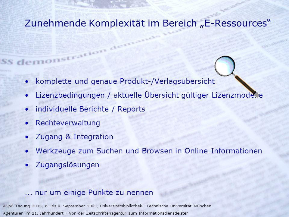 """Zunehmende Komplexität im Bereich """"E-Ressources"""