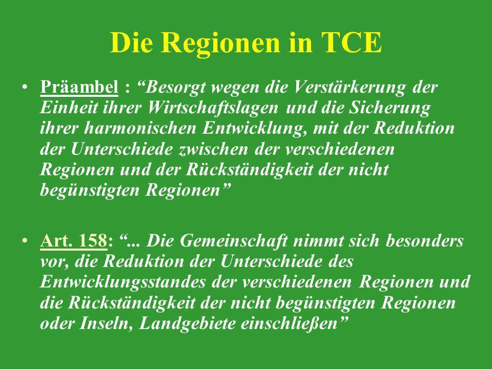 Die Regionen in TCE