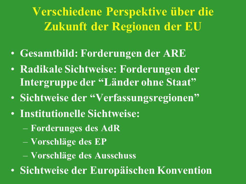 Verschiedene Perspektive über die Zukunft der Regionen der EU