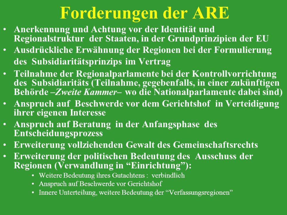 Forderungen der ARE Anerkennung und Achtung vor der Identität und Regionalstruktur der Staaten, in der Grundprinzipien der EU.
