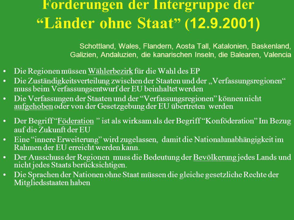 Forderungen der Intergruppe der Länder ohne Staat (12.9.2001)