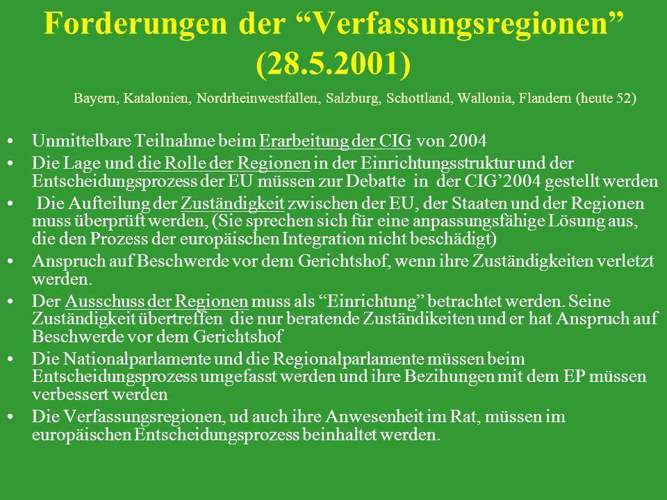 Forderungen der Verfassungsregionen (28.5.2001)