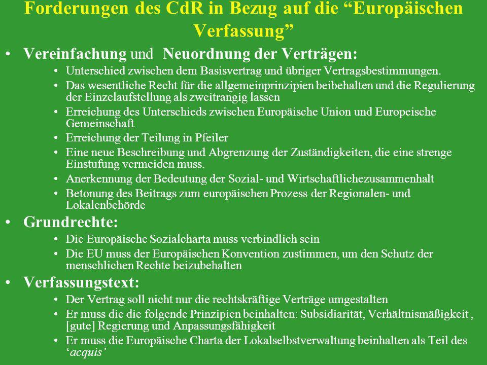 Forderungen des CdR in Bezug auf die Europäischen Verfassung