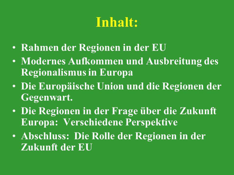 Inhalt: Rahmen der Regionen in der EU