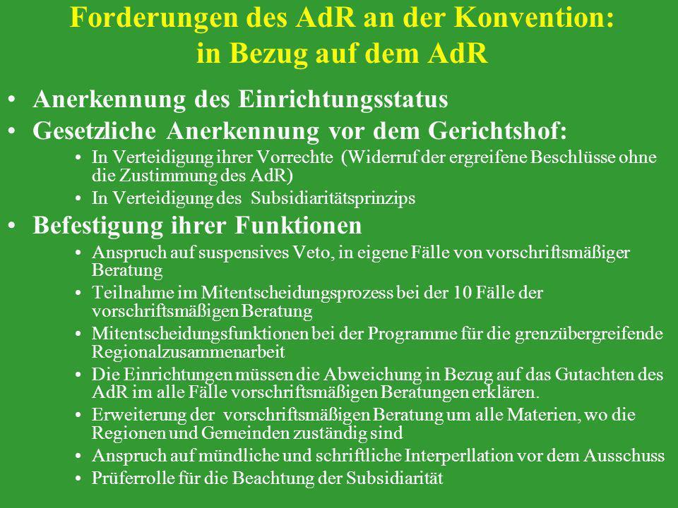 Forderungen des AdR an der Konvention: in Bezug auf dem AdR