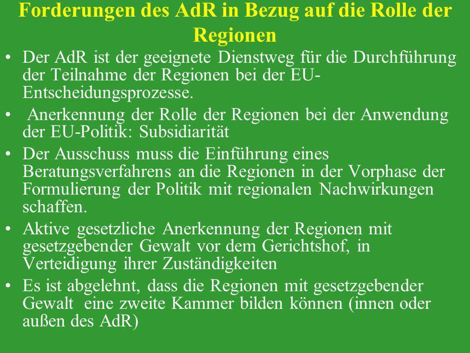 Forderungen des AdR in Bezug auf die Rolle der Regionen