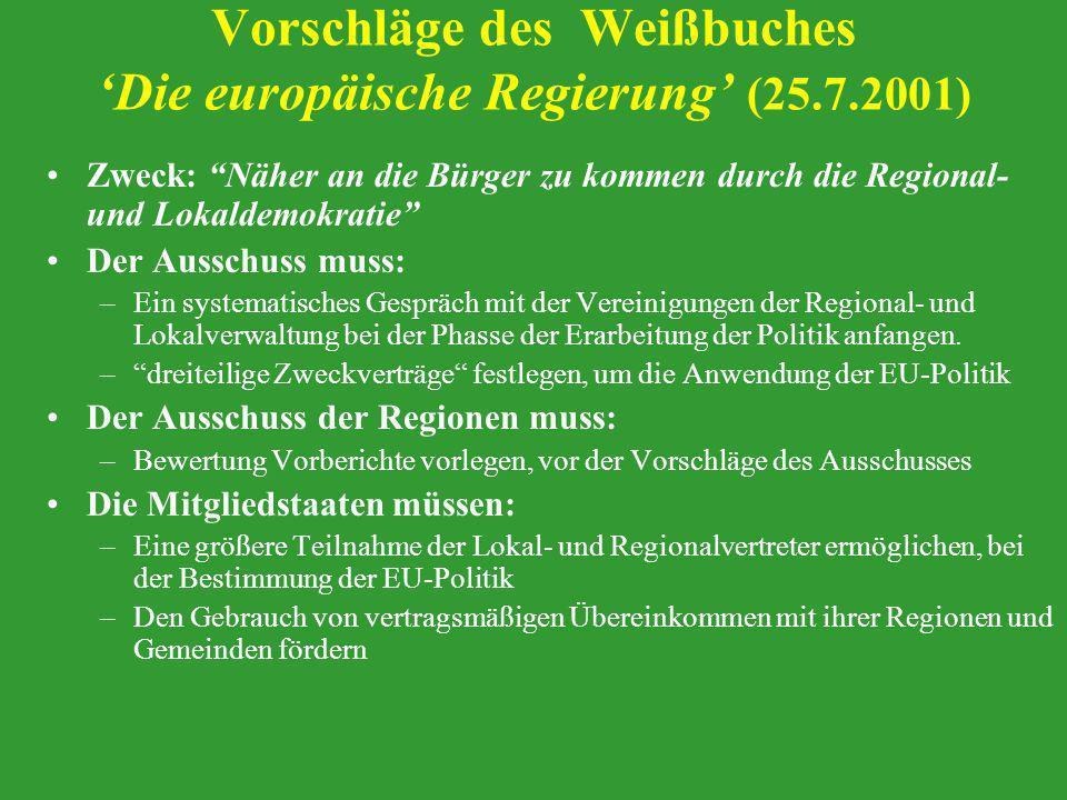 Vorschläge des Weißbuches 'Die europäische Regierung' (25.7.2001)