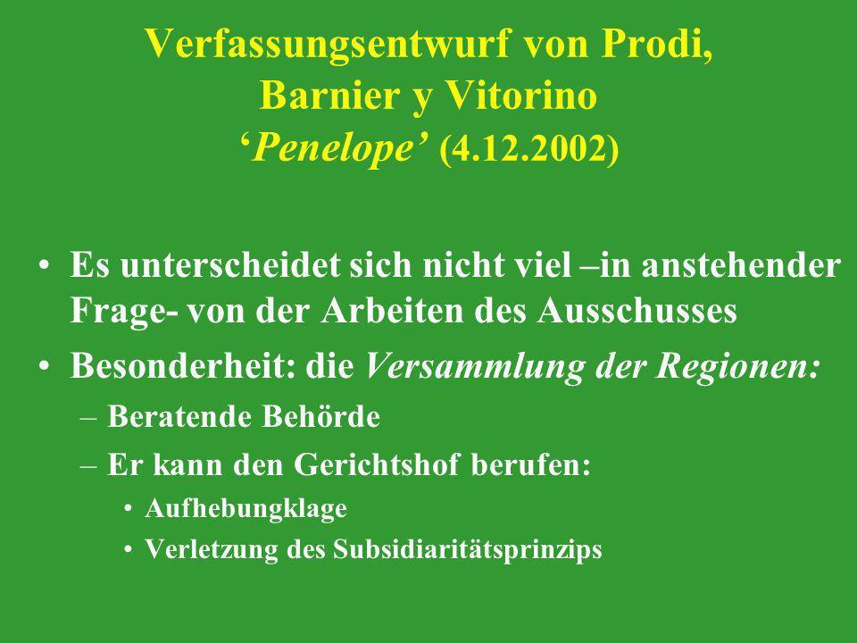 Verfassungsentwurf von Prodi, Barnier y Vitorino 'Penelope' (4. 12