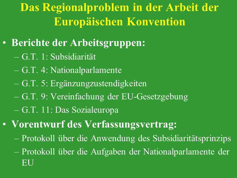 Das Regionalproblem in der Arbeit der Europäischen Konvention