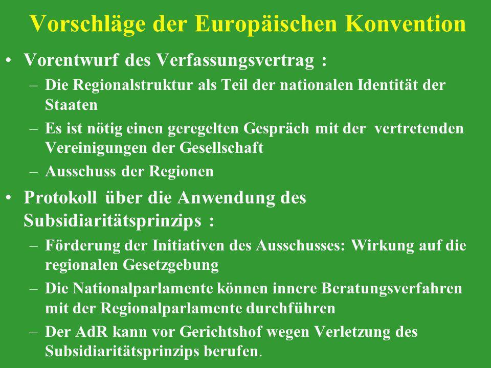 Vorschläge der Europäischen Konvention