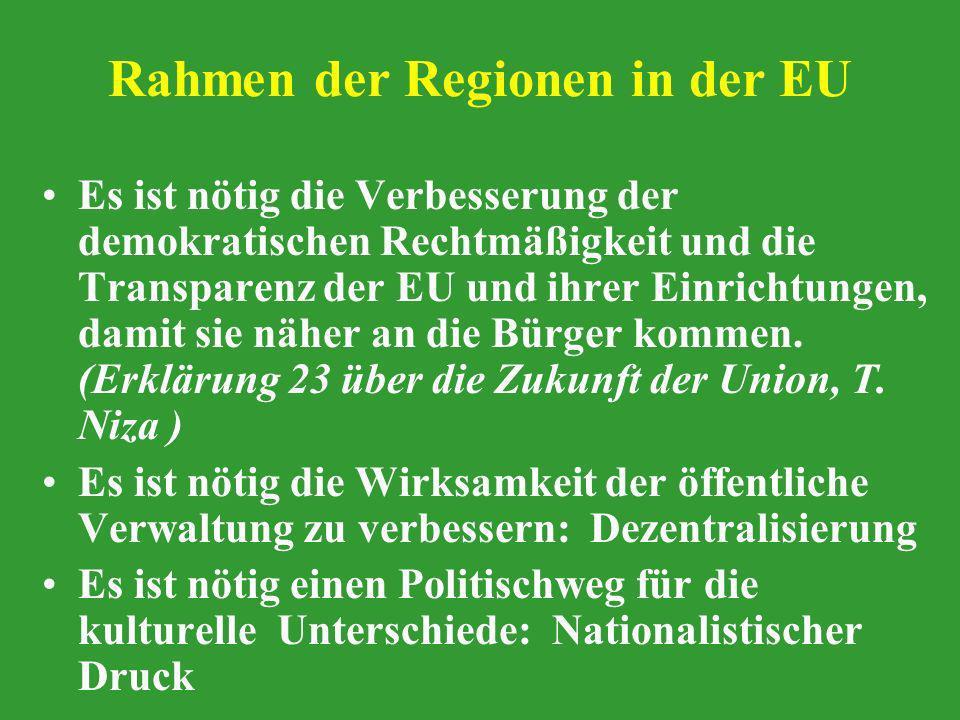 Rahmen der Regionen in der EU