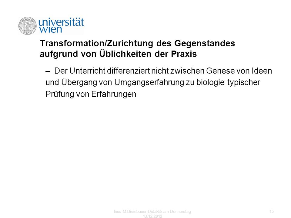 Ines M.Breinbauer Didaktik am Donnerstag 13.12.2012