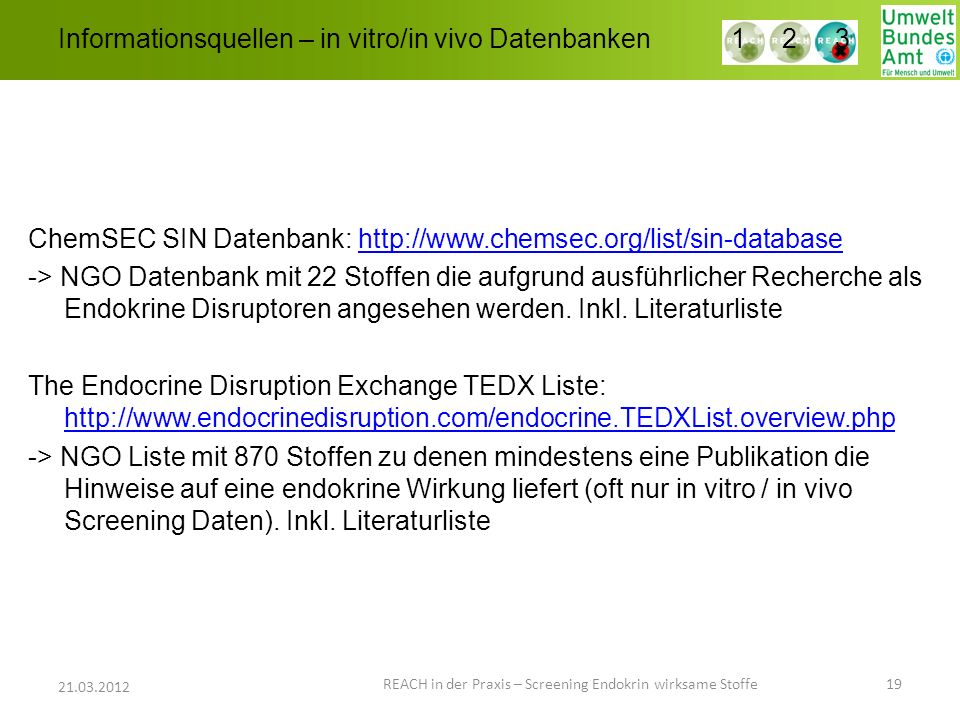 Informationsquellen – in vitro/in vivo Datenbanken