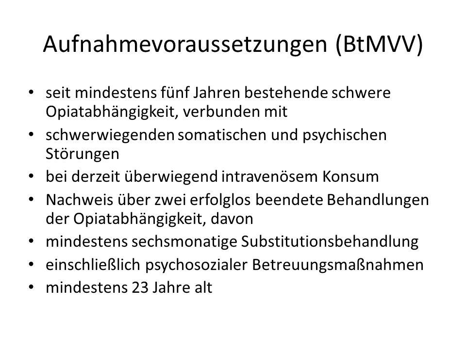 Aufnahmevoraussetzungen (BtMVV)