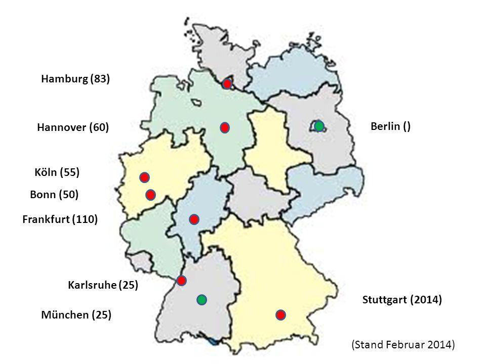 Hamburg (83) Hannover (60) Berlin () Stuttgart (2014) Köln (55) Bonn (50) Frankfurt (110) Karlsruhe (25)