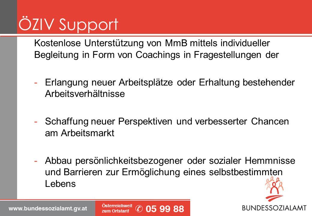 ÖZIV Support Kostenlose Unterstützung von MmB mittels individueller Begleitung in Form von Coachings in Fragestellungen der.