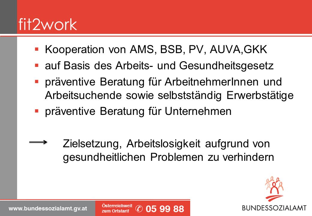 fit2work Kooperation von AMS, BSB, PV, AUVA,GKK