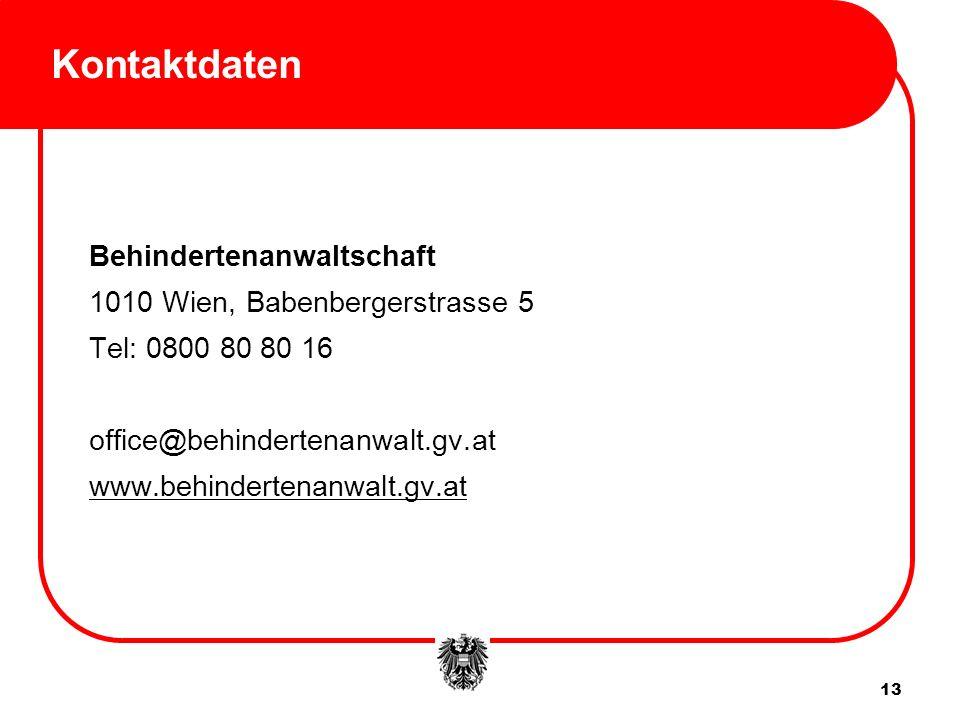 Kontaktdaten Behindertenanwaltschaft 1010 Wien, Babenbergerstrasse 5