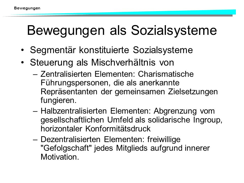 Bewegungen als Sozialsysteme