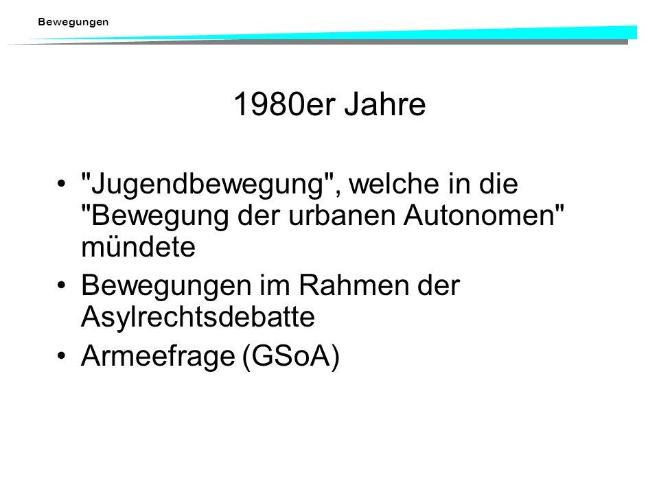 1980er Jahre Jugendbewegung , welche in die Bewegung der urbanen Autonomen mündete. Bewegungen im Rahmen der Asylrechtsdebatte.