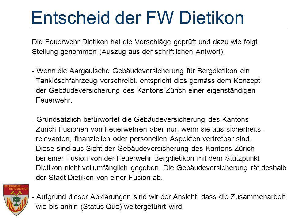 Entscheid der FW Dietikon