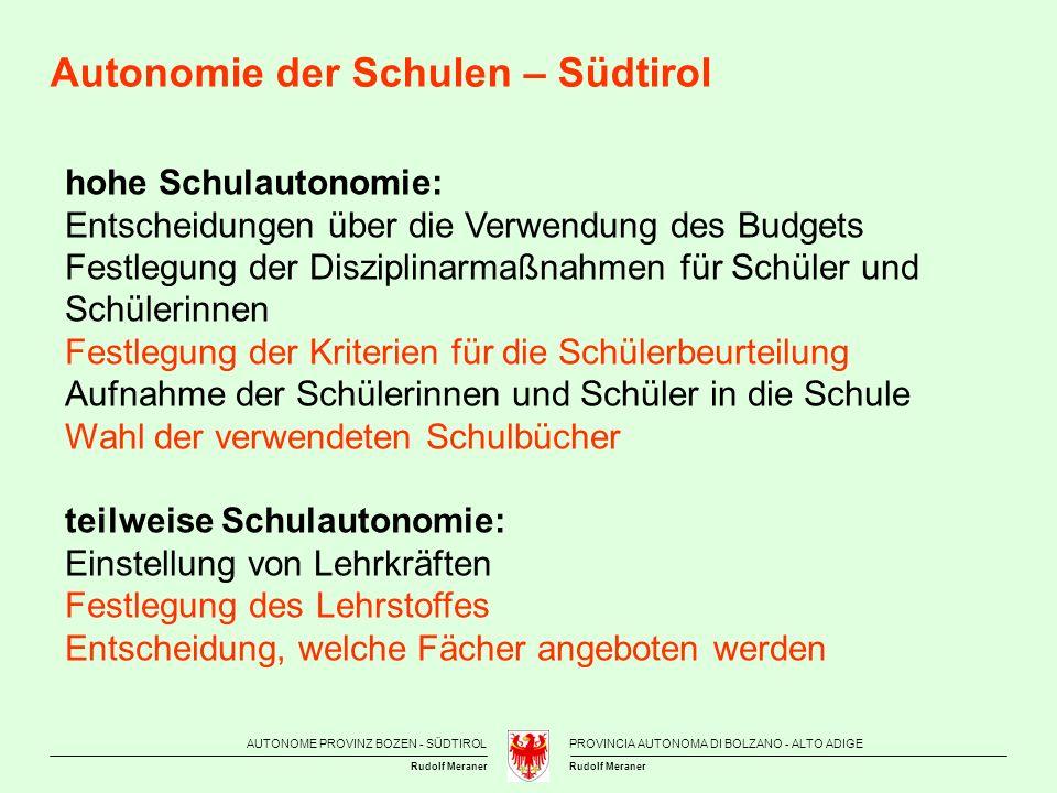 Autonomie der Schulen – Südtirol