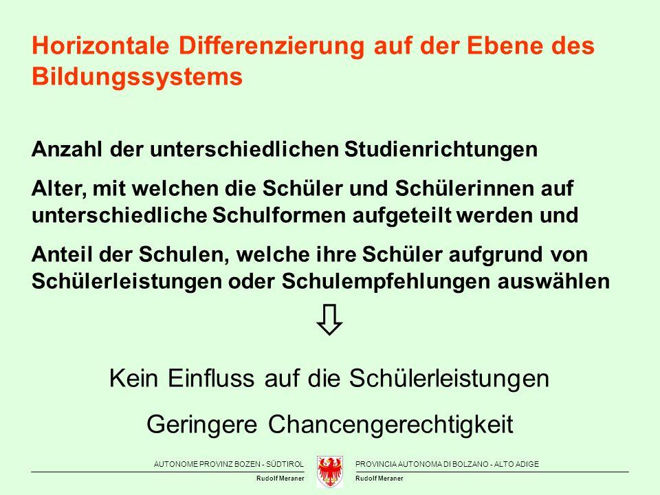  Horizontale Differenzierung auf der Ebene des Bildungssystems