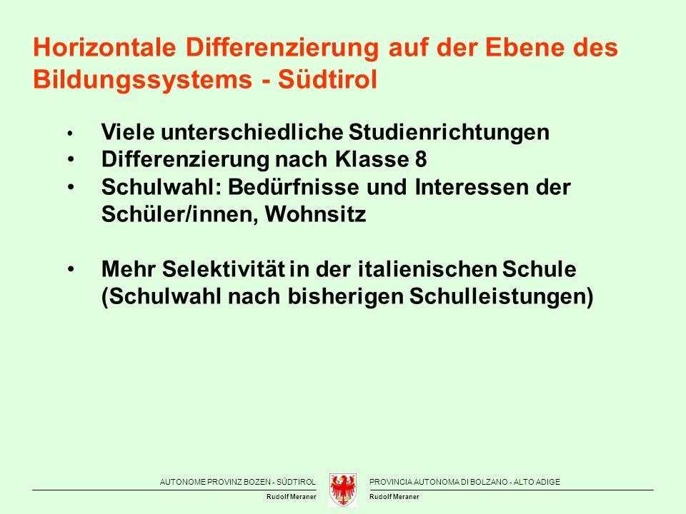 Horizontale Differenzierung auf der Ebene des Bildungssystems - Südtirol