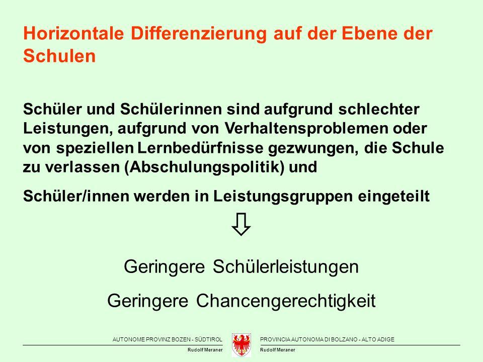  Horizontale Differenzierung auf der Ebene der Schulen