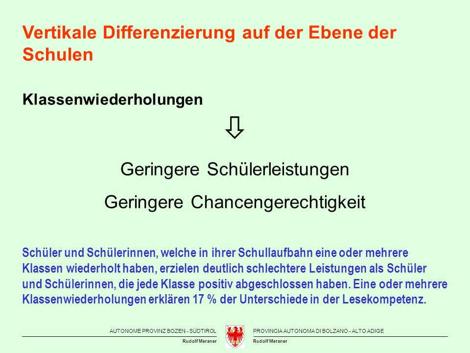  Vertikale Differenzierung auf der Ebene der Schulen