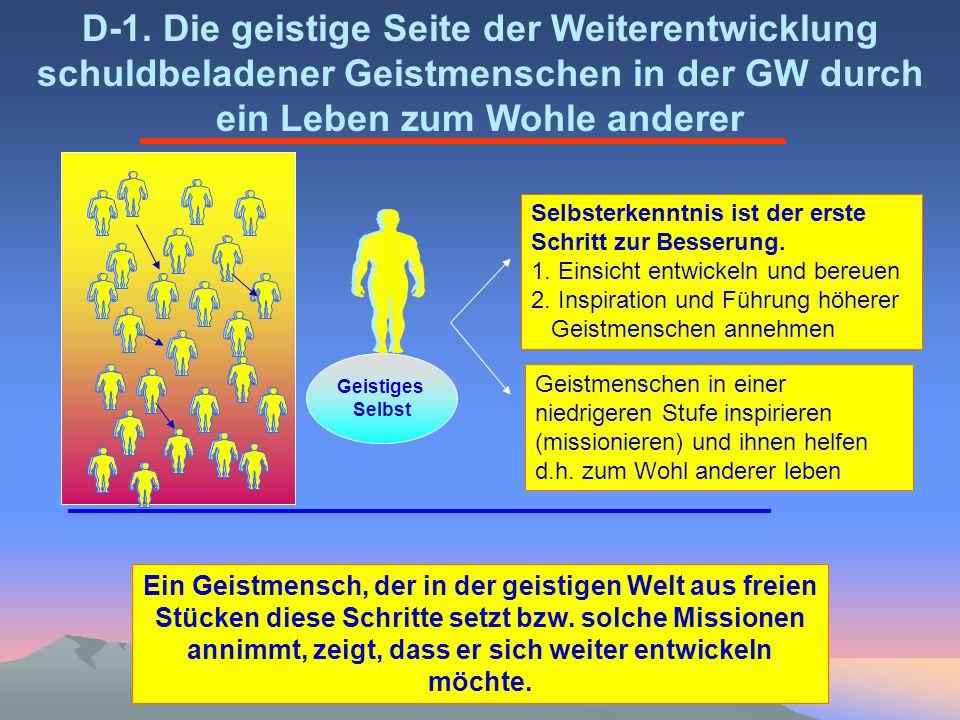 D-1. Die geistige Seite der Weiterentwicklung schuldbeladener Geistmenschen in der GW durch ein Leben zum Wohle anderer