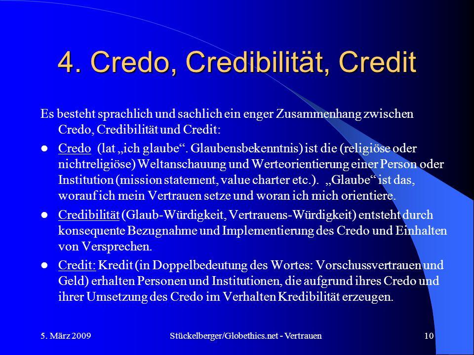 4. Credo, Credibilität, Credit