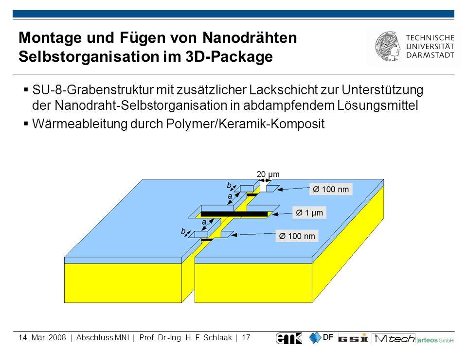 Montage und Fügen von Nanodrähten Selbstorganisation im 3D-Package