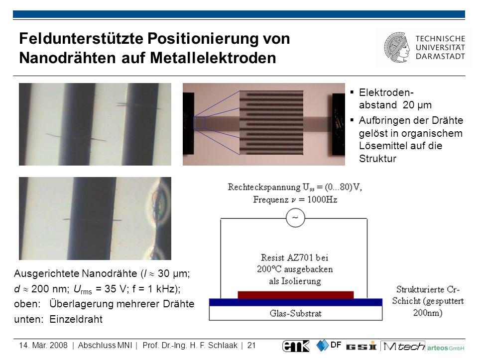 Feldunterstützte Positionierung von Nanodrähten auf Metallelektroden
