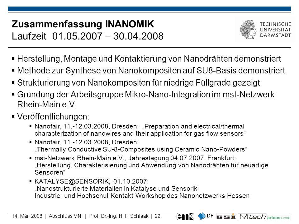 Zusammenfassung INANOMIK Laufzeit 01.05.2007 – 30.04.2008