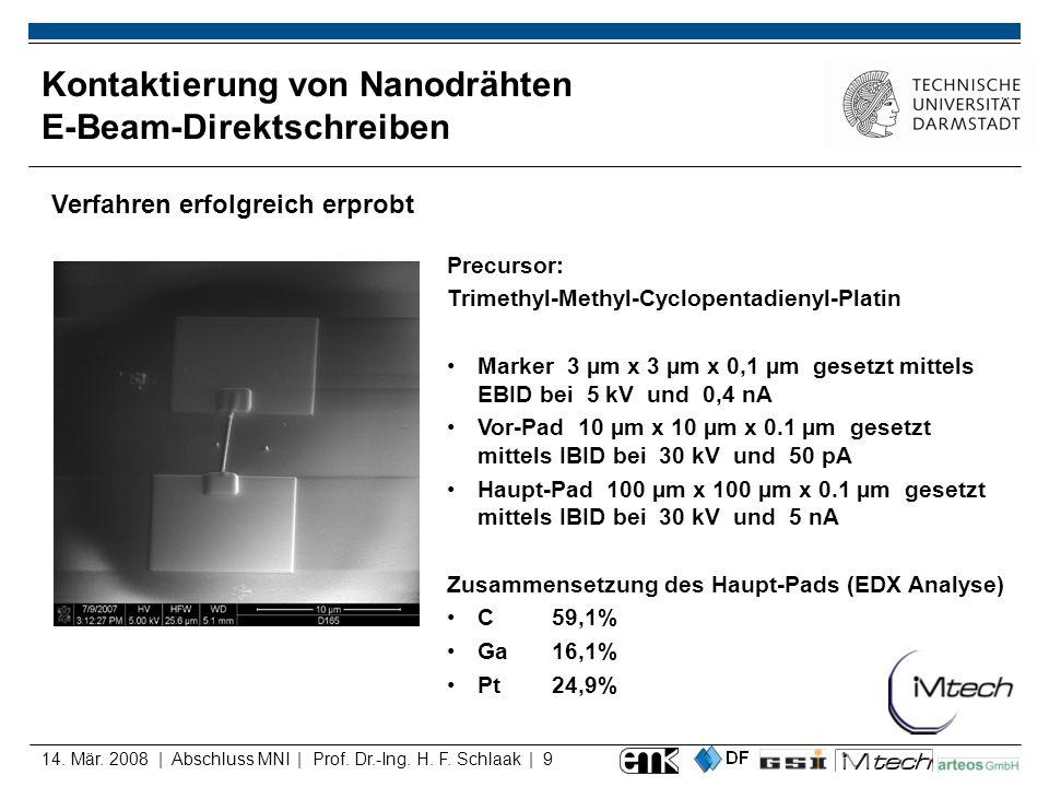 Kontaktierung von Nanodrähten E-Beam-Direktschreiben
