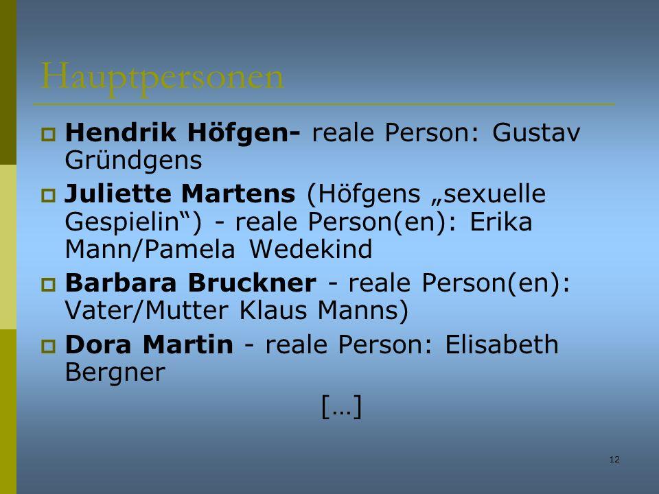 Hauptpersonen Hendrik Höfgen- reale Person: Gustav Gründgens
