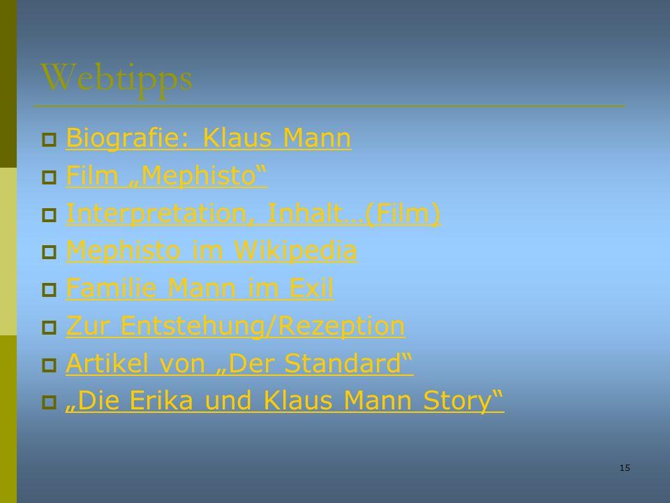 """Webtipps Biografie: Klaus Mann Film """"Mephisto"""
