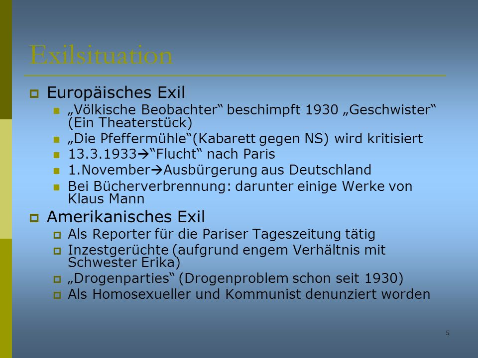 Exilsituation Europäisches Exil Amerikanisches Exil