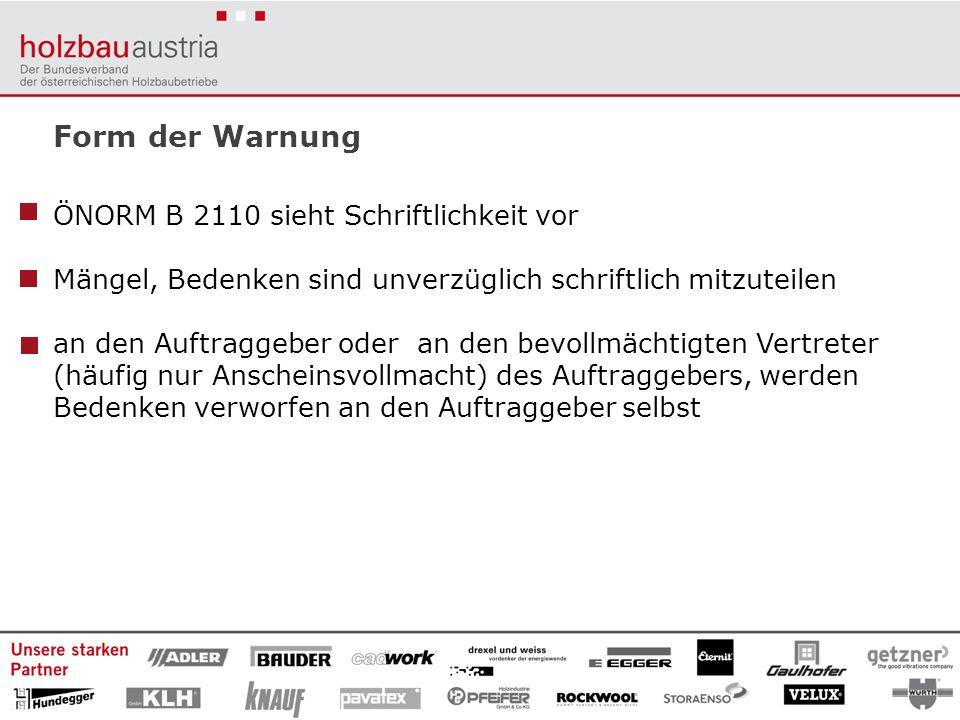 Form der Warnung ÖNORM B 2110 sieht Schriftlichkeit vor