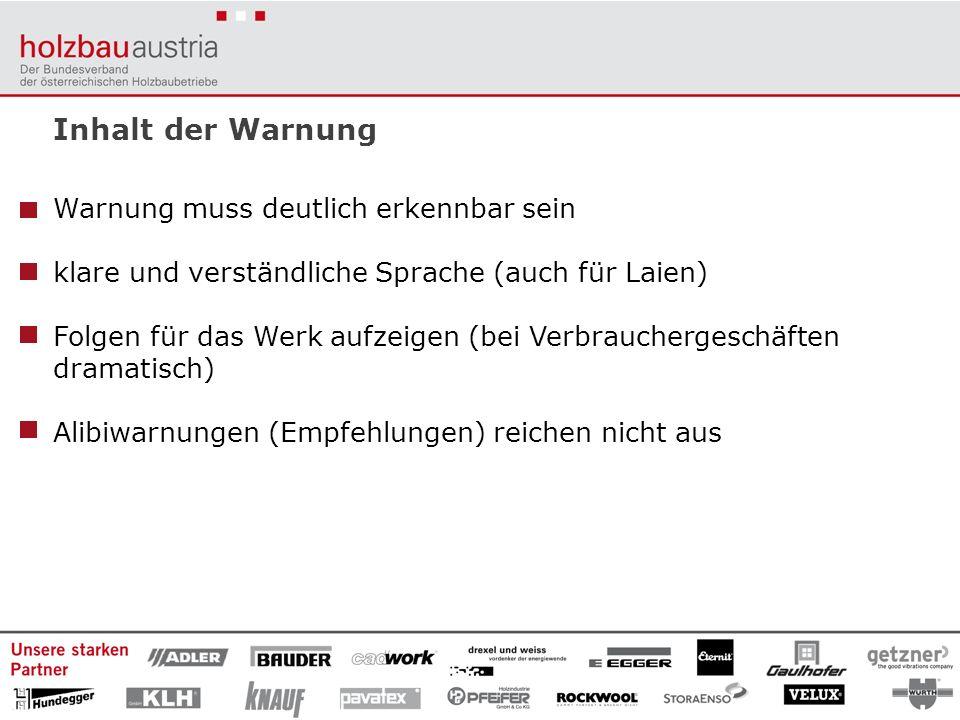 Inhalt der Warnung Warnung muss deutlich erkennbar sein