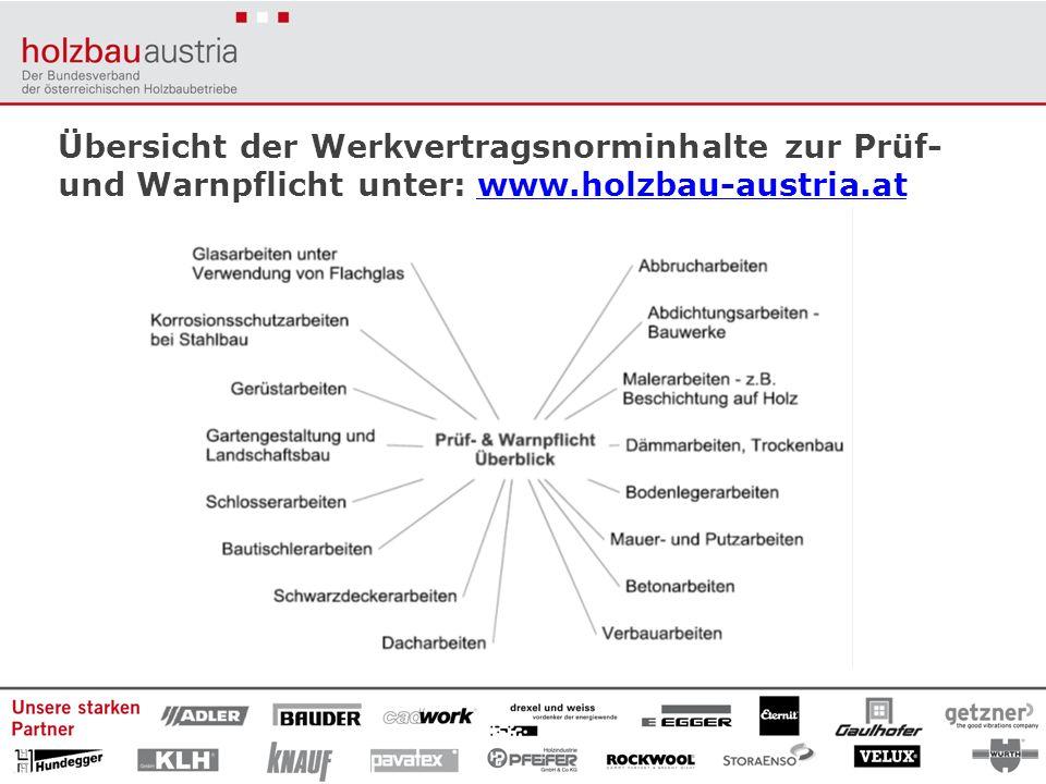 Übersicht der Werkvertragsnorminhalte zur Prüf- und Warnpflicht unter: www.holzbau-austria.at
