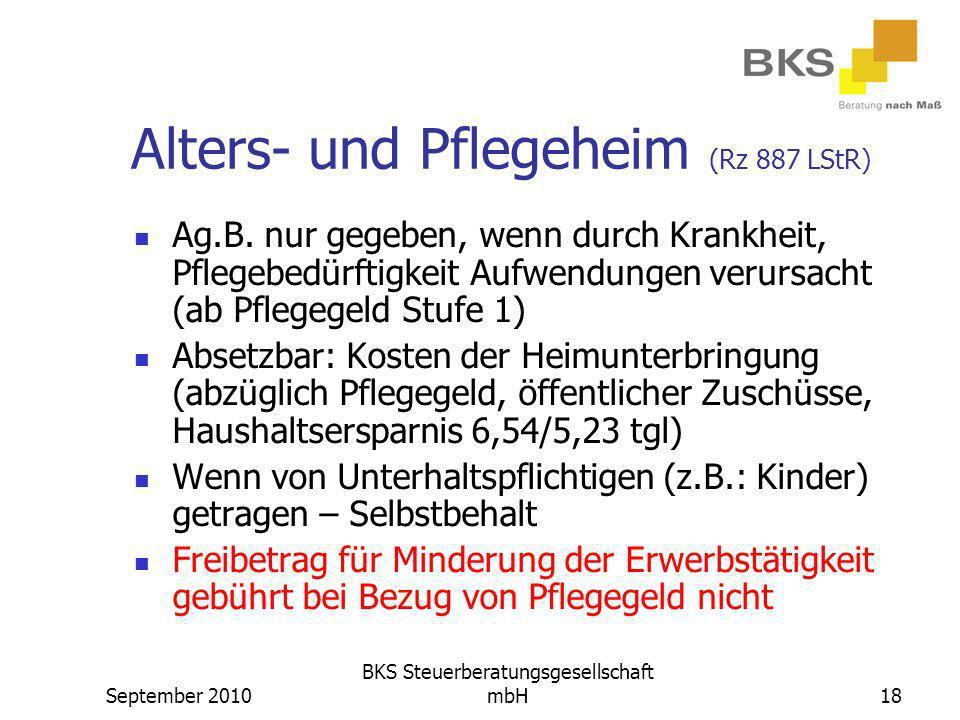 Alters- und Pflegeheim (Rz 887 LStR)