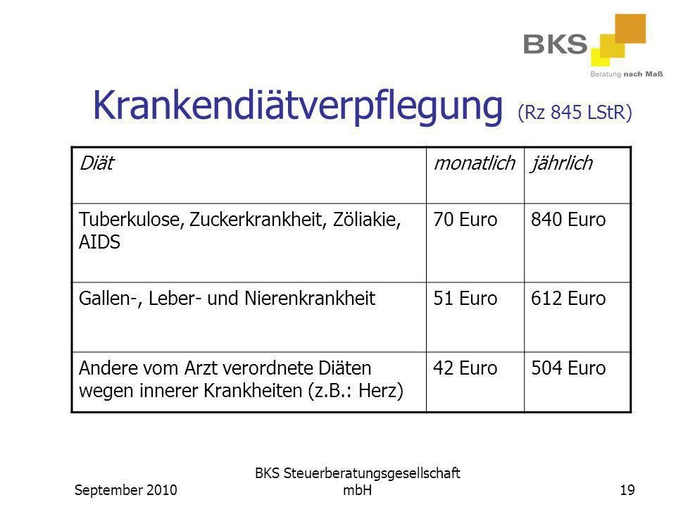 Krankendiätverpflegung (Rz 845 LStR)