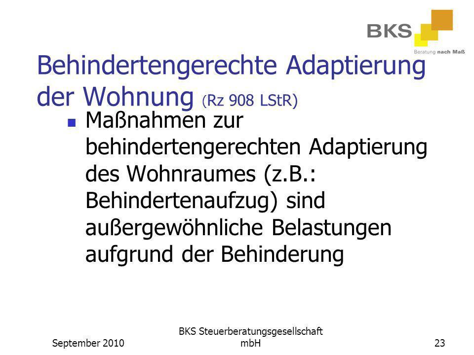 Behindertengerechte Adaptierung der Wohnung (Rz 908 LStR)