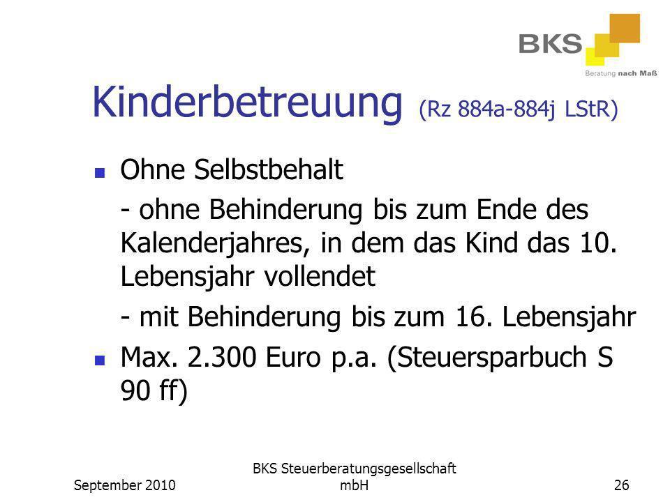 Kinderbetreuung (Rz 884a-884j LStR)