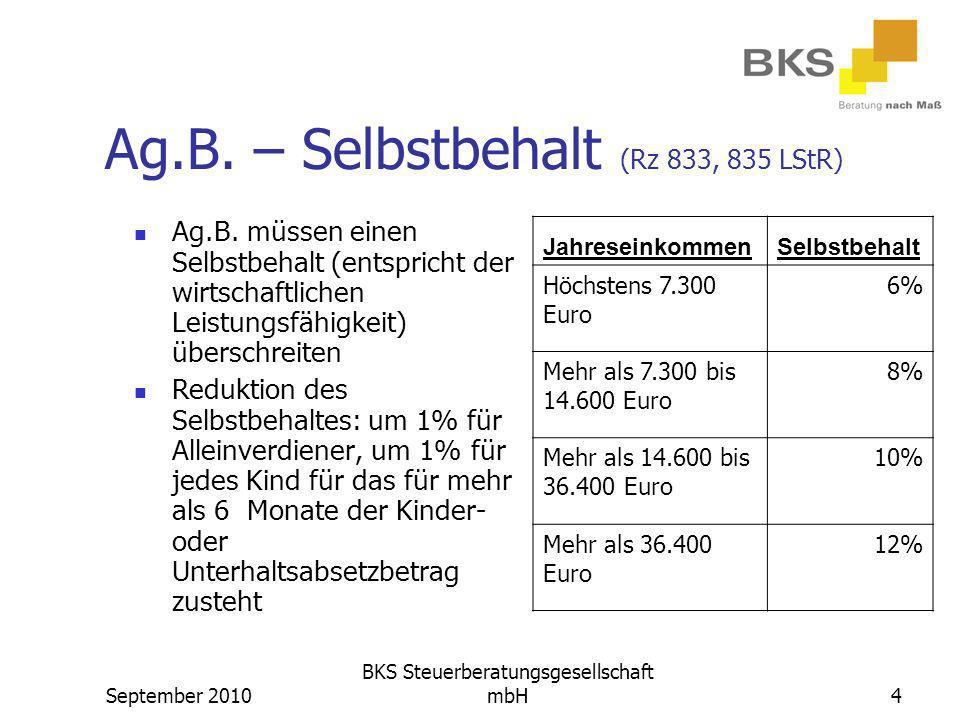 Ag.B. – Selbstbehalt (Rz 833, 835 LStR)