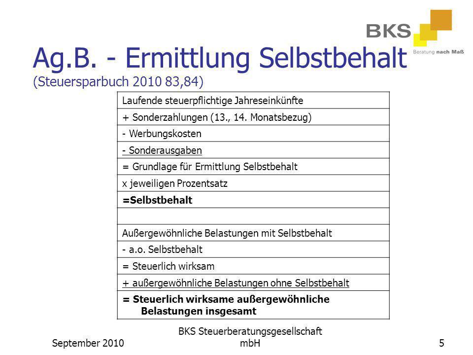 Ag.B. - Ermittlung Selbstbehalt (Steuersparbuch 2010 83,84)